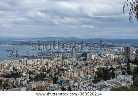 Haifa, Israel - January 2, 2016 :  View of Haifa bay