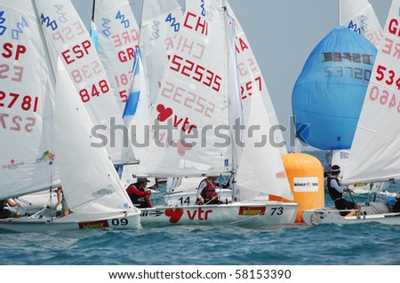 HAIFA, ISRAEL - JULY 30: Participants compete in the International Yacht 420 Word Championship 2010 on July 30, 2010 in Haifa, Israel