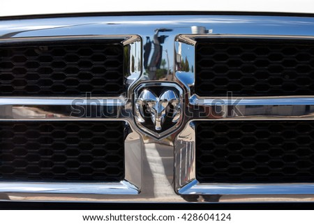 Haifa, Israel, May 29, 2016: Dodge emblem and front grill. Dodge is an American brand of cars, minivans, and sport utility vehicles manufactured by FCA US LLC, based in Auburn Hills, Michigan. - stock photo