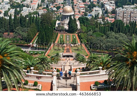 Haifa: view of the Mausoleum of the Bab and the Bahai gardens on September 2, 2105. Bahai gardens and Mausoleum are part of Bahai World Centre buildings, the place of worship for the Bahai religion