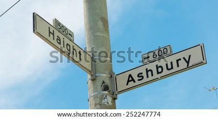 Haight - Ashbury street sign in San Francisco, Califronia, USA - stock photo