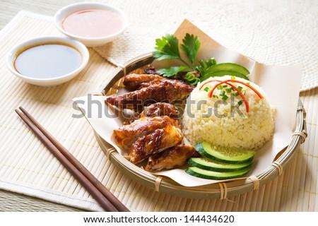 Hainan chicken rice close-up. Asian food. - stock photo