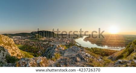 Hainburg at sunset from Braunsberg hill, Austria - stock photo