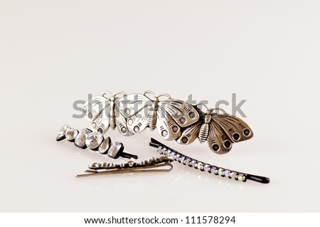 hair accessories isolated on white horizontal - stock photo