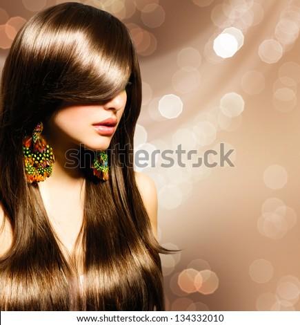 Hair Beautiful Brunette Girl Healthy Long Brown Beauty Model Woman Hairstyle
