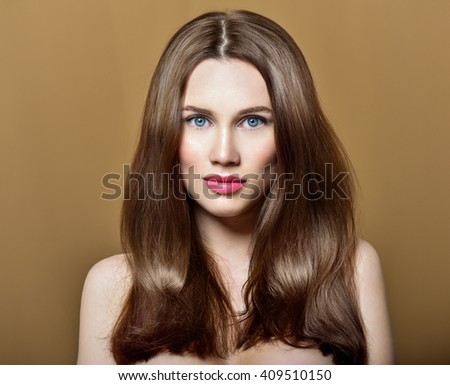 Hair. Beauty Fashion Model Woman with Long and Healthy Brown Hair. Beauty Brunette Girl. - stock photo