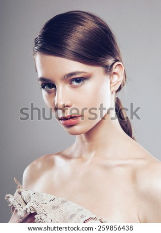 hair, beauty portrait of pretty woman with braid hair-style, colorful make-up and. Looking in camera - stock photo