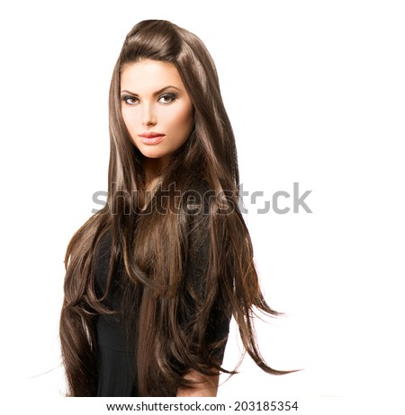 Hair. Beauty Woman with Long Healthy and Shiny Smooth Brown Hair. Model Brunette Girl Portrait over white background. Hair Extensions  - stock photo
