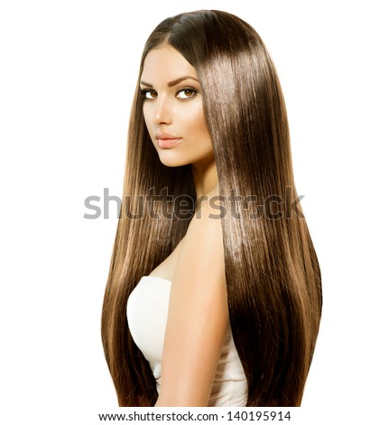 Hair. Beauty Woman with Very Long Healthy and Shiny Smooth Brown Hair. Model Brunette Girl Portrait isolated on a white background. Gorgeous Hair