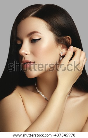 Hair. Beauty woman with very long healthy and shiny smooth brown hair. Model brunette girl portrait. Gorgeous hair. Beauty model woman. Hairstyle. Hair care - stock photo