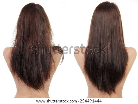 hair before and after - stock photo