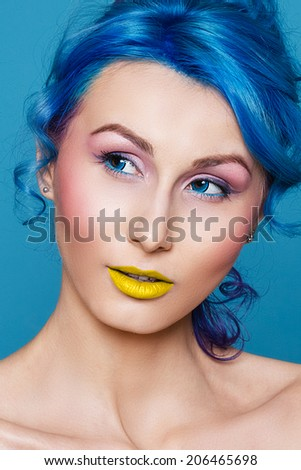 hair, blue, woman hairstyle skin, make-up model