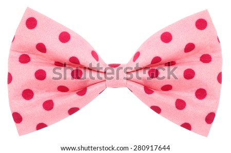 Hair bow tie pink with red dots - stock photo