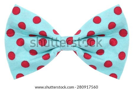 Hair bow tie turquoise blue with red dots - stock photo