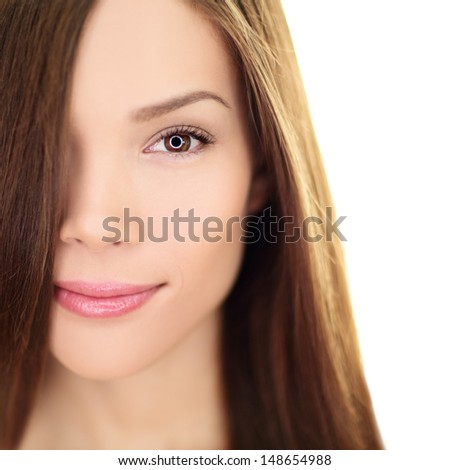 Hair care beauty woman with long hair. Female brunette beauty and hair treatment close up. Mixed race Asian Chinese / Caucasian female model in her 20s isolated on white background. - stock photo