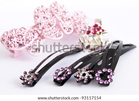 hair clips isolated - stock photo