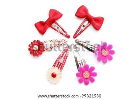 Hair Clips on White Background - stock photo