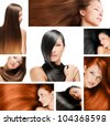 hair collage , beautiful young woman with long hair , hairstyle - stock photo