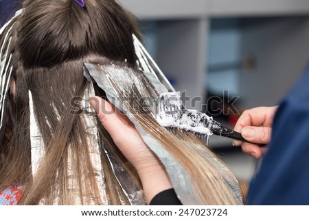 hair coloring in a beauty salon - stock photo