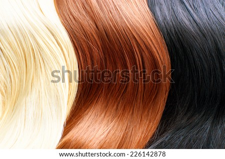 Hair Colors Palette. Different Hair colours Hair Texture. Blonde, brown and black hair colours - stock photo