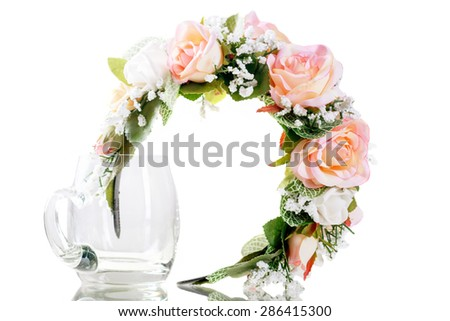 Hair decoration handmade. Pink flowers. Isolated on white background - stock photo