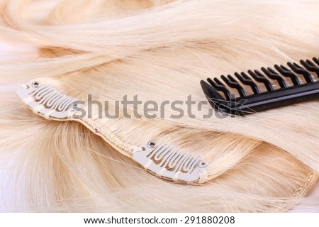 Hair extensions, clips and brush