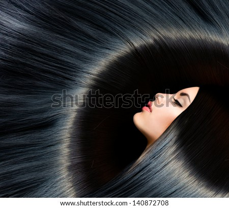 Hair. Healthy Long Black Hair. Beauty Brunette Woman. Gorgeous Hair - stock photo