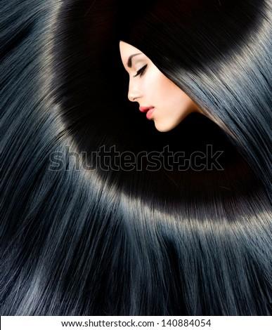 Hair. Healthy Long Black Hair. Beauty Brunette Woman. Gorgeous Hair - stock photo