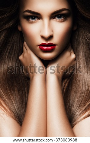 Hairstyle Up : Hair, healthy long hair, hairstyle, make up. Beautiful woman with long ...