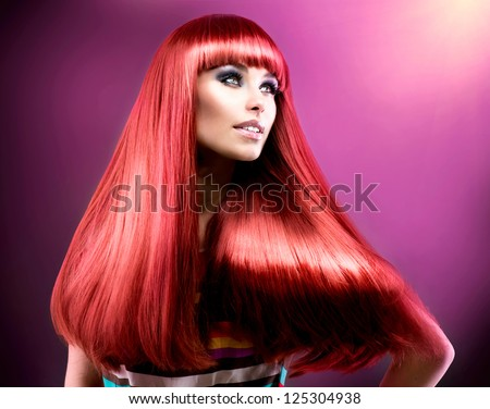 Hair. Healthy Straight Long Red Hair. Fashion Beauty Model over Purple Background. Vogue Style. Beautiful Glamour Woman Portrait - stock photo