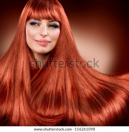 Hair. Healthy Straight Read Hair. Extension - stock photo