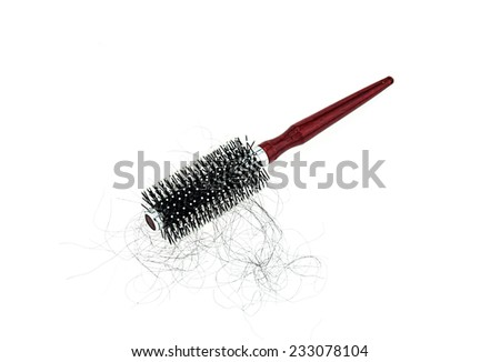 Hair loss problem with round hair brush , isolated on white background - stock photo
