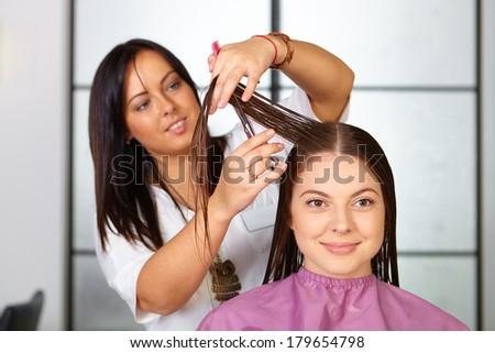 Hair salon. Woman haircut. Cutting. - stock photo