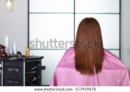 Hair salon. Women`s haircut. Back view. - stock photo