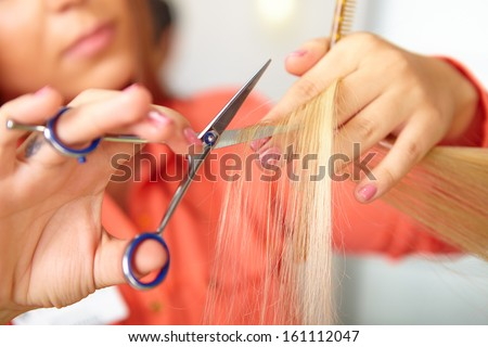 Hair salon. Women`s haircut. Cutting.