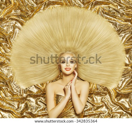 Hair Style Fashion Model, Woman Hairstyle Long Straight Hair, Girl on Golden Color - stock photo