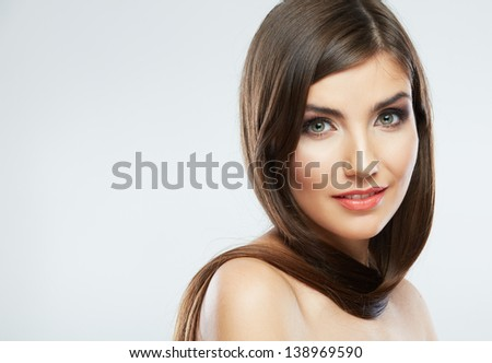 Hair style smiling woman portrait. Female model