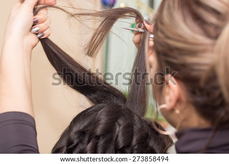 Hair styling in a beauty salon