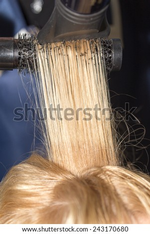 hair styling in the salon - stock photo