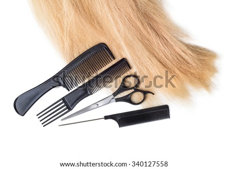 hair with scissors on close up isolated on white background - stock photo