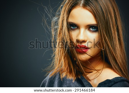Hair. Woman Face Portrait. Red lips. Motion hair. - stock photo