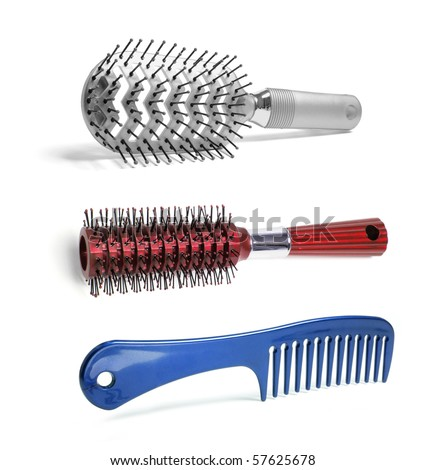 Hairbrushes on Isolated White Background - stock photo