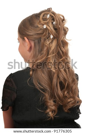 Hairdo for little girls for weddings or parties - stock photo