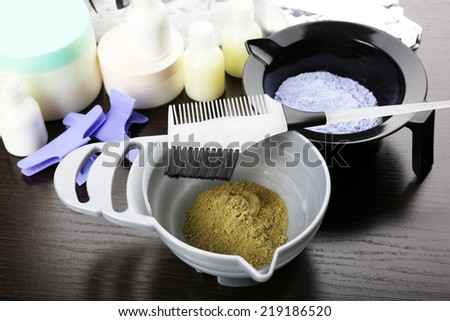 Hairdresser accessories for coloring hair, close-up - stock photo