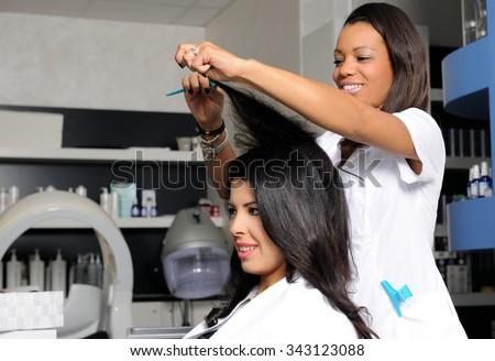 hairdresser at work - stock photo