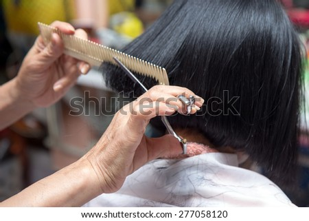 Hairdresser cutting client's hair in salon  - stock photo