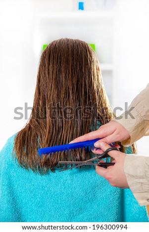 hairdresser cutting wet hair close-up, beauty salon - stock photo