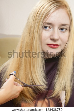 Hairdresser giving a new haircut to female - stock photo