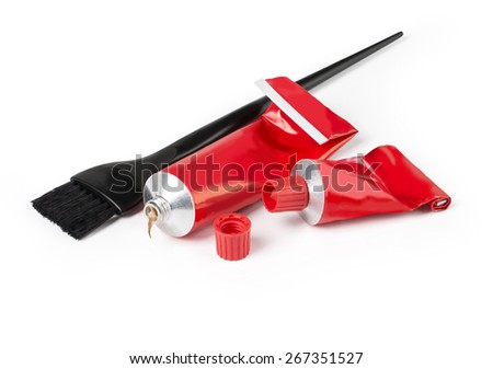 Hairdresser tools, closeup on white background with clipping path