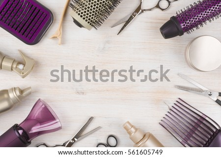 Hairdresser Tools On Wooden Background Copy Stock Photo ...